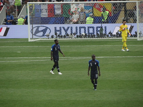 Samuel Umtiti, Ngolo Kante and Hugo Lloris of France in the early stages of the 2018 World Cup Final