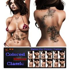 Butterfly Flower Tattoo (JohnnyWalker29 Resident) Tags: tattoo butterfly flower color classic fashion market second life secondlife