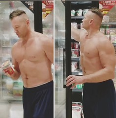 Greek ice cream (ddman_70) Tags: shirtless pecs abs muscle sweatpants shopping store icecream