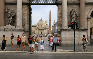 Porta del Popolo designed to impress the many pilgrims entering the Eternal City of Roma