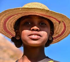 Farm Girl (Rod Waddington) Tags: africa african afrique afrika madagascar malagasy girl child culture cultural rural face hat portrait people ethnic ethnicity outdoor farm