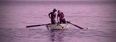 fishermen ... (momirage) Tags: egypt alexandria early morning shore stick fisherman fishermen fishing boat oar people sky water ocean sea reflection