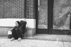 Her, Street, and Me (Photo Alan) Tags: street streetphotography streetpeople blackwhite blackandwhite city cityscape cityofvancouver leicasl leicavarioelmarit2490mm canada vancouver vancouverdowntown vancouverstreet people door wall