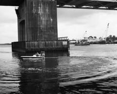 20180419MemorrialBr3 (Alan Cradick) Tags: alancradick bw bridge capefearriver film tugboat river outboard marinepatrol