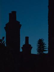 Venus between the chimney pots. (Owen Llewellyn) Tags: owenllewellyn cygnusimaging canon g1x powershot london southlondon brixton venus urban solstice night dark blue chimneys city astronomy nature summer planets astrophotography science