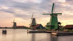 3 on a row (reinaroundtheglobe) Tags: zaanseschans zaandam zaandijk windmills traditionalwindmill longexposure netherlands holland nopeople northholland dutch dutchlandscape reflections waterreflections sunset