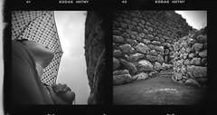 Ex Nurakis (The rainmaker) (Vincenzo Caniparoli) Tags: analog argentique analogico bw blackandwithe biancoenero dittico diptych diptich dittici dyptich dipthyc tmax tmy kodaktmy film holga holga6x6 holgagcfn holga120 holaga120 holgan holgacamera losa nuraghelosa lomo lomography mediumformat medioformato oristano photography sardegna sardinia 120 6x6