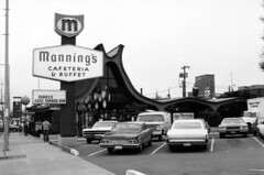 Manning's Restaurant, circa 1970s (Seattle Municipal Archives) Tags: seattlemunicipalarchives seattle ballard restaurants googiearchitecture vintagecars 1970s