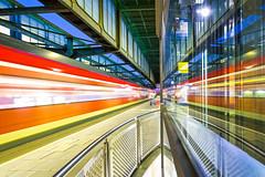 The arrival (Blende57) Tags: duisburg train sbahn trainstation station platform elevator reflection wideangle bluehour longexposure blurredlines blur