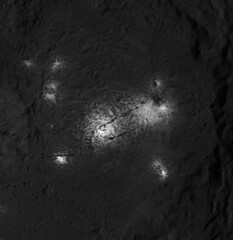 Vinalia Faculae in Occator Crater (sjrankin) Tags: 18july2018 edited nasa grayscale dawn occatorcrater brightspot salt crater primage ceres vinaliafaculae pia21925