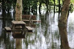 La fuie les pieds dans l'eau I (Tonton Gilles) Tags: alençon normandie epide école normale fuie des vignes inondations rivière sarthe reflets banc table de camping arbres paysage urbain