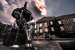 fountain square (bjdewagenaar) Tags: photography photograph photographer photooftheday sony sonyalpha sonyphotographer sonyimages sonya77ii sonya sigma wideangle ultrawideangle fountain city urban sky clouds buildings architecture lowangle lowperspective perspective dutch holland gorinchem gorcum raw lightroom