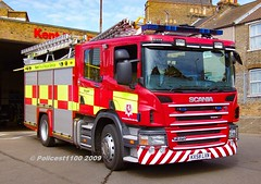 Kent Fire & Rescue Scania P270 KX58 LXN (policest1100) Tags: kent fire rescue scania p270 kx58 lxn