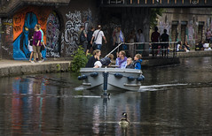 Keep Moving, London canal (Ian@NZFlickr) Tags: canal boat birds people tagging colours colors bridge summer still waters london uk