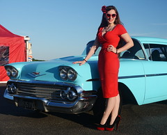 Holly_9223 (Fast an' Bulbous) Tags: classic american car vehicle automobile chevy chevrolet people outdoor santa pod girl woman hot sexy chick babe pinup model red wiggle dress high heels stockings long brunette hair