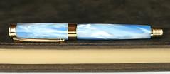Pearl Sky Blue Fountain Pen - Stainless Steel Nib (BenjaminCookDesigns) Tags: fountainpen custom bespoke engraved personalised classic vintage artdeco style gift birthday christmas fpgeeks fpn giftforhim giftforher füllfederhalter