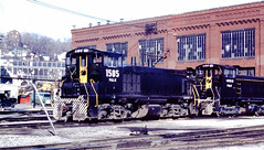 Pittsburgh & Lake Erie 1585 and 1552 (CPShips) Tags: ple emd mp15dc sw1500 mckeesrocks 1978