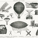Aeronautics - Aerial Machines from the book New Popular Educator (1904), a vintage collection of early aerial machines. Digitally enhanced from our own original plate.
