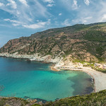 Turquoise Mediterranean and beach at Marine de Giottani in Corsica thumbnail