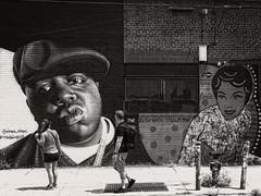 Wyckoff Avenue, Brooklyn, NYC (SG Dorney) Tags: newyorkcity nyc street streetphoto streetphotography bw blackandwhite monochrome bushwick brooklyn mural streetart biggie biggiesmalls notoriousbig
