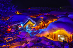 Snow village at night in Harbin, China (phuong.sg@gmail.com) Tags: northernmost architecture asia background beautiful beauty bright building celebrate celebration china christmas cottage dark electric evening exterior festive holiday home house idyllic illumination lamp landscape life light mountain new night outdoor picturesque resort romantic scenic season sky snow sparkle village winter xmas year