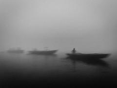 Ganga | Varanasi 2017 (Vijayaraj PS) Tags: nikon varanasi kasi india heritage ganga ganges water river incredibleindia outdoor ghats asia blackandwhite monochrome background grey grains boat sky 2017 fog
