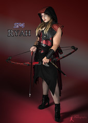 Sucker Punched 4 - Ryah (2) (FightGuy Photography) Tags: mallory bow amazon hood leather boots arrow armor red black skirt warriorwoman tallmodel suckerpunched suckerpunched4 fightguyphotography