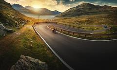 Splügen (Chrisnaton) Tags: splügen viaspluga splügenpass passodellospluga madesimo italy mountains road mountainpass sunset biker alpine alps eveningmood eveninglight eveningsky serpentine hairpinturn