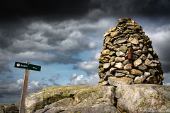 Cairn at Bursfjeld (flogvit) Tags: rock rockobject nopeople nature day bursfjeld guidance informationsign bursfjellet cloudsky nonurbanscene beautyinnature solid outdoors sign sky information cairn