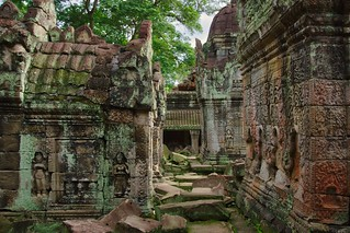 Stone carvings in the ruins of Preah Khan temple in Angkor Archeological Park near Siem Reap, Cambodia