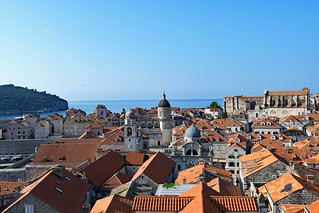 Dubrovnik Old Town and the Island of Lokrum at dawn.
