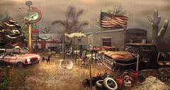 Trailer Park Monsoon (Sienna Skye Foxdale) Tags: drd deathrowdesigns digitalart dystopian trailerpark desert monsoon jian soy hayabusa secondlife photoshop redneck outdoors homeandgarden homedesign landscape american america truck