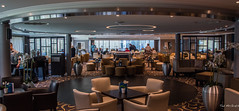 2018 - Danube River Cruise - Avalon Passion - Lounge (Ted's photos - For Me & You) Tags: 2018 avalonwaterways cropped nikon nikond750 nikonfx tedmcgrath tedsphotos vignetting avalonpassion ship cruiseship shipinterior seating seats seated wideangle widescreen carpet windows tables chairs bar restaurant