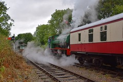 Hunslet Loco WD190 moves away from Nunnery Halt, to return towards Sible Hedingham and the far end of the line. Colne Valley Railway. 29 07 2018 (pnb511) Tags: colnevalleyrailway cvr heritage railway trains steam engine essex hunslet wd190 saddle tank loco