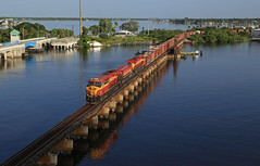 109 at Stuart (GLC 392) Tags: fec lng florida east coast railroad railway train 109 807 303 816 stuart fl lift bridge river water lake reflection road morning life awesome matched matching pure set champ ge es44c4 st lucie iconic compressed gas fuel tender natural