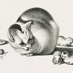 Illustration of domestic cat and three newborn kittens by Gottfried Mind (1768-1814). Original from Library of Congress. Digitally enhanced by rawpixel. thumbnail