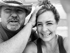 Hold my hair back (maj488/mike) Tags: portrait couple married marriedlife florida life floridalife beachlife beach beachcomber cowboyhat cowboy