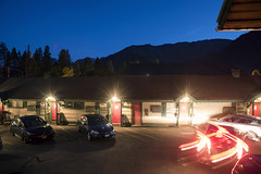 Backing Up (Curtis Gregory Perry) Tags: leavenworth washington motel night car light trail backing up blue hour sky long exposure nikon d810