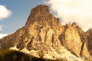The sun sets over the Dolomites