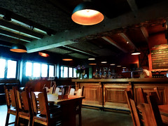 An Early Lunch (Steve Taylor (Photography)) Tags: bar pub inn beer lager menu digitalart architecture tableandchairs window light brown green orange wood wooden newzealand nz southisland canterbury christchurch texture