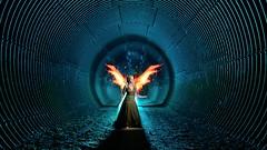 Urban fairy (palateth) Tags: lightpainting lightart night nophotoshop singleexposure backlight magilight tunnel wings girlsdream