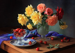 Summer Still Life with Roses and Berries (Tatyana Skorokhod) Tags: stilllife bouquet flowers berries cherry roses decor flickrdiamond