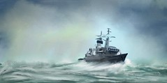 Almirante Cochrane (Pat McDonald) Tags: hmsnorfolk ff05 f230 artrage digitalart britishisles fleet harryroughers heavyweather navy pacific españa sea sailor roughseas retrato ship spain storm waves chile