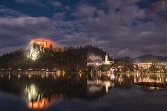 0804 The Night Reflections (Hrvoje Simich - gaZZda) Tags: landscape outdoors noperson clouds pond reflections building castle church lights travel bled slovenia europe nikon nikond750 nikkor283003556 gazzda hrvojesimich