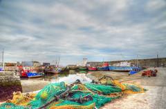 Balbriggan Harbour (rtstewart000) Tags: ireland harbour pier jetty fishing trawler sea ocean water ship nets nikon d7000 colour sky blue lighthouse balbriggan irish waves beach shore