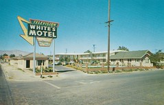 Vintage Postcard - White's Motel - Mojave, Calif. - Now, that's an arrow sign! (hmdavid) Tags: vintage postcard whitesmotel mojave california desert neon arrow sign roadside advertising cafe gas food lodging