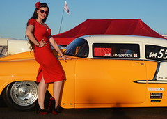 Holly_9276 (Fast an' Bulbous) Tags: classic american chevy chevrolet car vehicle automobile racecar girl woman wife hot sexy chick babe pinup red wiggle dress high heels stockings nylons people outdoor santapod nikon