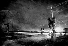 Crossing - Bahnübergang (b_kohnert) Tags: railwayline train digitalpainting digitalart schwarzweis monochrome blackandwhite bw