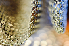 M*E*S*H* (setoboonhong) Tags: macro mondays theme mesh plastic meshbag folded metallic sieve incandescent light led torch depth field blur bokeh