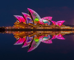 Broken Brightness (Jared Beaney) Tags: canon canon6d australia australian photography photographer travel sydney vividsydney 2018 circularquay sydneyoperahouse reflections reflection bright projectionshow projections colour bluehour night